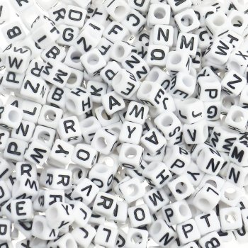 Mixed White Cube Alphabet Beads - 400 Beads
