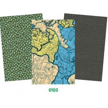 Decopatch Blue Paper Pack - 3 Half Sheets , Map, Mottled, Plain