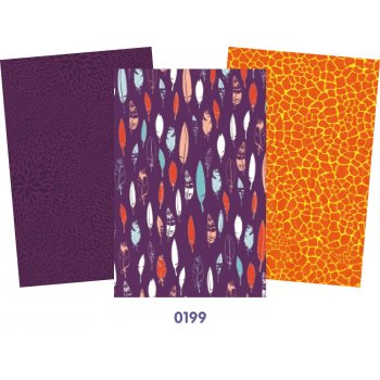 Decopatch Purple Paper Pack - 3 Half Sheets , Feathers, Purple, Orange