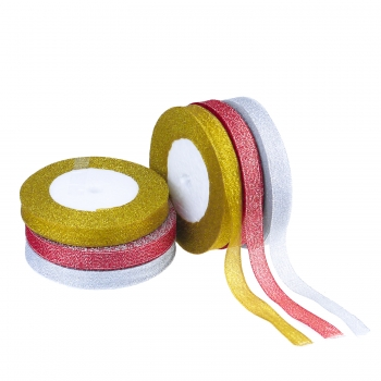 Giltter Organza Ribbon - Red 22 metres