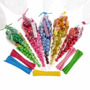Cellophane Cone Sweet Bags 18 x 37cm - 50 Pack