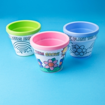 Pink Plastic Colour Your Own Flower Pot