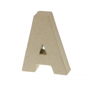 Paper Mache Small Letter A - 10cm high x 2cm thick