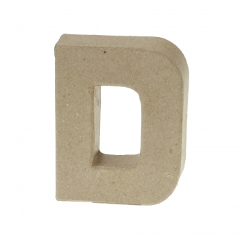 Paper Mache Small Letter D - 10cm high x 2cm thick