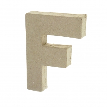 Paper Mache Small Letter F - 10cm high x 2cm thick