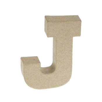 Paper Mache Small Letter J - 10cm high x 2cm thick