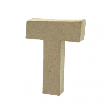 Paper Mache Small Letter T - 10cm high x 2cm thick