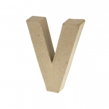 Paper Mache Small Letter V - 10cm high x 2cm thick