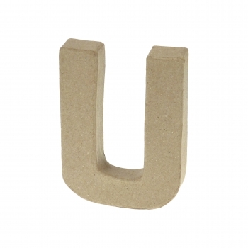 Paper Mache Small Letter U - 10cm high x 2cm thick