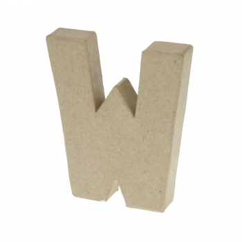 Paper Mache Small Letter W - 10cm high x 2cm thick