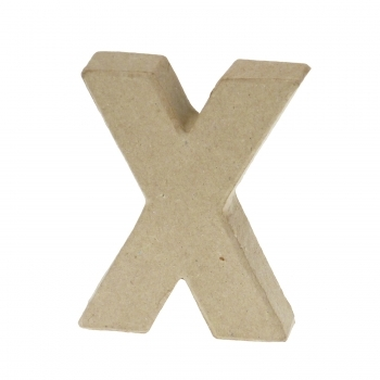 Paper Mache Small Letter X - 10cm high x 2cm thick