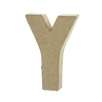 Paper Mache Small Letter Y - 10cm high x 2cm thick