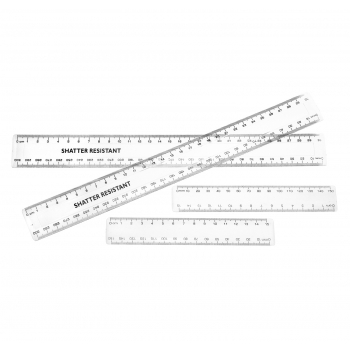30cm Clear Plastic Rulers - 100 Pack