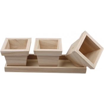 Wooden Flower Pot Set