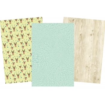 Decopatch Christmas Paper Pack - Reindeers, Wood, Plain