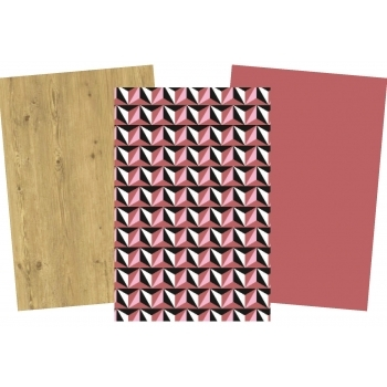 Decopatch Paper Pack - 3 Half Sheets, Light Wood, Cranberry, Pattern