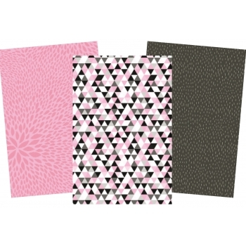 Decopatch Pinks Paper Pack - 3 Half Sheets, Pink, Black and Patterned