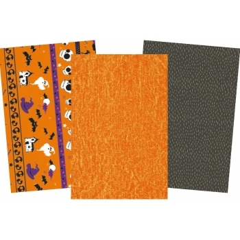 Decopatch Halloween  Paper Pack - 3 Half Sheets, Skulls and Mottled