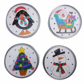 Christmas Festive Coasters to colour in - 4 Pack