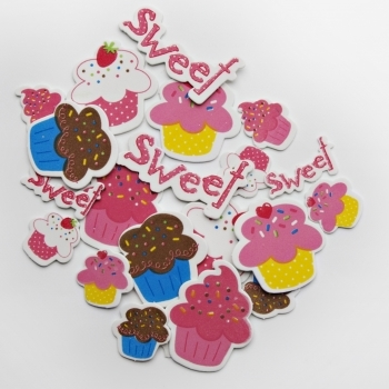 Cupcake Foam Sticker Sheets Pack Of 4
