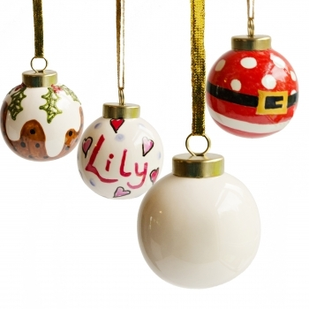 6cm Glazed Ceramic Bauble With Gold Cord - Pack of 6