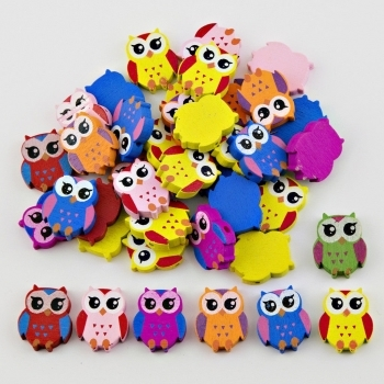Wooden Owl Beads - 20 Pack