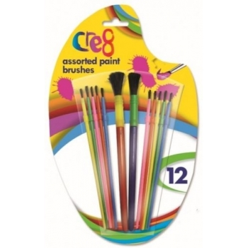 12 Pack Assorted Paint Brushes