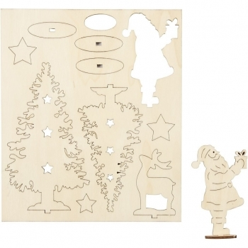Santa Reindeer And Trees 3D Wooden Cutouts
