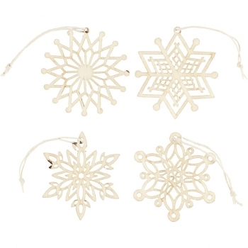 Wooden Snowflake Decorations 7cm Pack Of 8