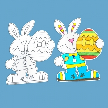 Easter Bunny Colour In Card Cut Outs - Pack of 10