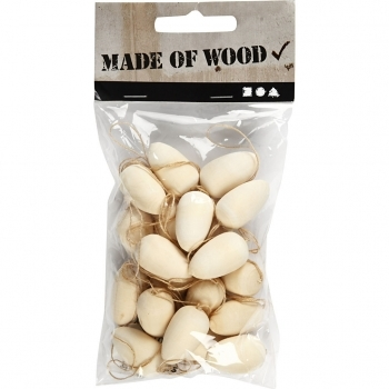 Pack Of 20 Mini Wooden Eggs(25 X 15mm)