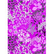 Decopatch Paper 516 - Half Sheet - Cerise, Silver & Black Flowers