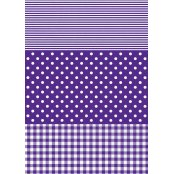Decopatch Paper 488 - Full Sheet - Purple Stripe, Polka and Gingham