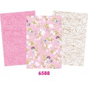 Decopatch Pink Paper Pack - 3 Half Sheets, Floral and Mottled