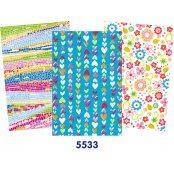 Decopatch Blue Paper Pack - 3 Half Sheets , Hearts, Floral, Mosaic