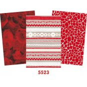 Decopatch Red Paper Pack - 3 Half Sheets Roses, Mottled & Buttons