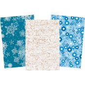Christmas Decopatch Blue Paper Pack - 3 Half Sheets Snowflakes, Circles, Mottled