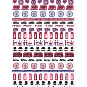 Decopatch Paper 641 - Half Sheet - British Red, White & Blue London Theme
