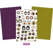 Decopatch Purple  Paper Pack - 3 Half Sheets , Eyes, Purple and Green