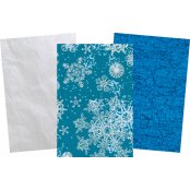 Decopatch Christmas Paper Pack - 3 Half Sheets, Snowflakes, Silver & Blue