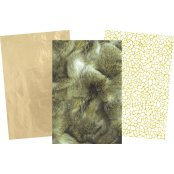 Decopatch Christmas Paper Pack - 3 Half Sheets, Reindeer Fur and Plain