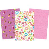 Decopatch Paper Pink  Pack - 3 Half Sheets , Bears, Floral & Plain