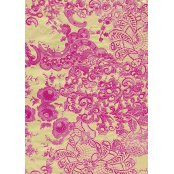 Decopatch Paper  461 - Half Sheet -  Gold & Hot Pink Lace Trim