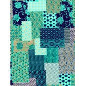 Decopatch Paper 696 - Half Sheet - Blue and Turquoise Patchwork