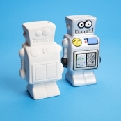 Unglazed Ceramic Robot Coin Bank - Single