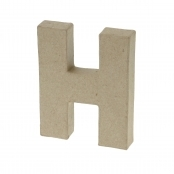Paper Mache Small Letter H - 10cm high x 2cm thick
