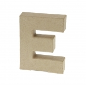 Paper Mache Small Letter E - 10cm high x 2cm thick