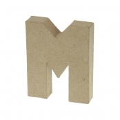 Paper Mache Small Letter M - 10cm high x 2cm thick