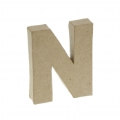 Paper Mache Small Letter N - 10cm high x 2cm thick
