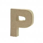 Paper Mache Small Letter P - 10cm high x 2cm thick
